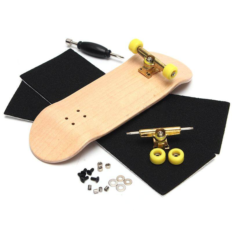 Creative Complete Wooden Fingerboard Finger Skate Board Grit Box Wood  Colours 9085e5b24d