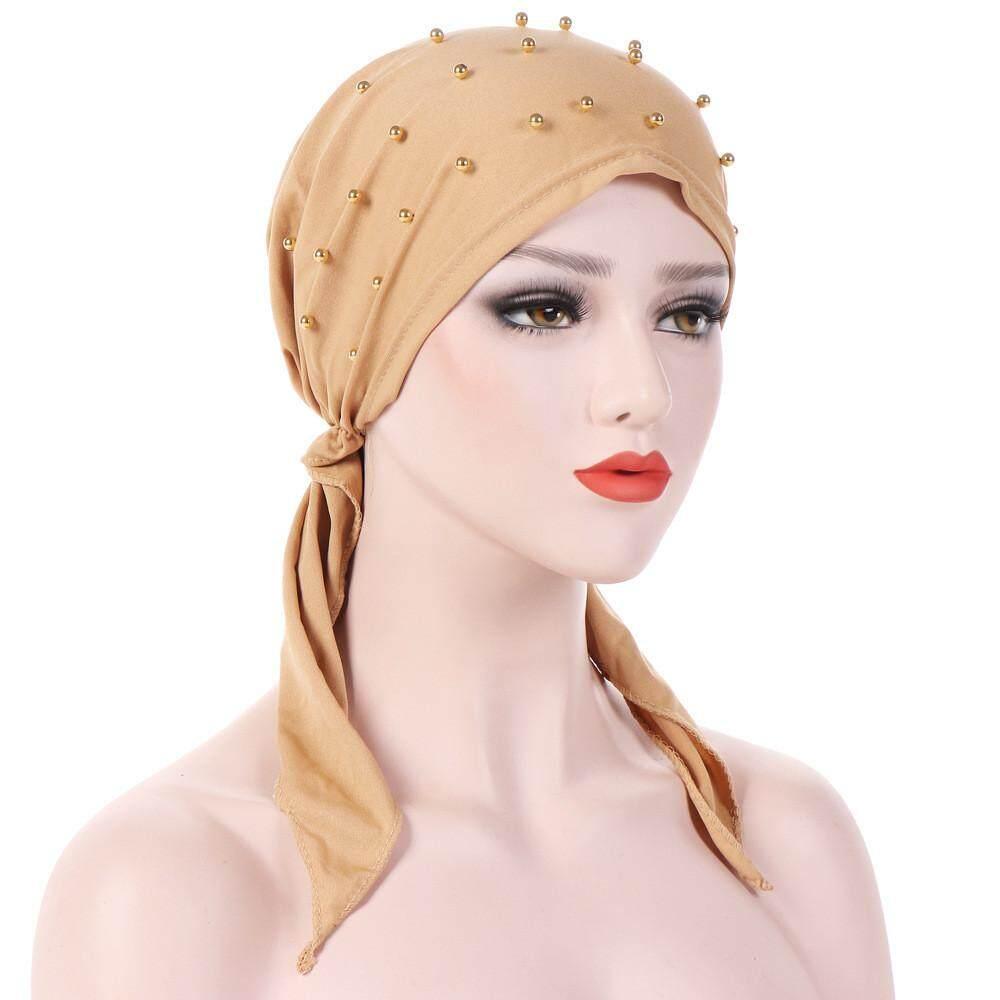 Detail Gambar Wanita India Manik-manik Muslim Stretch Turban Topi Rambut  Kapas Kehilangan Topi Kupluk 2d643fb0bc