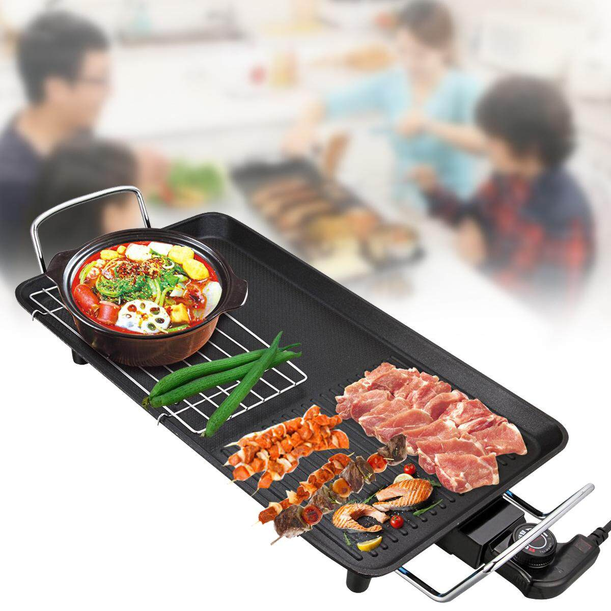 1500w 1-4 People Electric Bbq Grill Teppanyaki Griddle Non Stick Barbecue Hot Plate - Intl By Audew.
