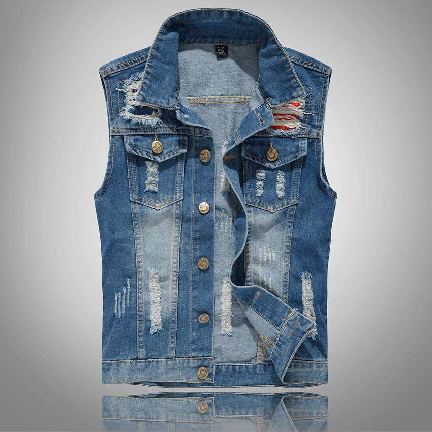 Mountainskin New Mens Denim Vest Fashion Sleeveless Jeans Jackets Washed Waistcoat Man Cowboy Ripped Clothing By Mountainskin.