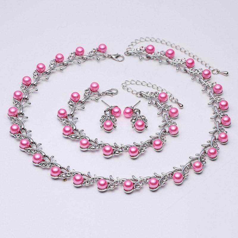 Faux Colorful Pearl Crystal Choker Beads Collar Necklace Earrings Bracelet Jewelry Set - intl