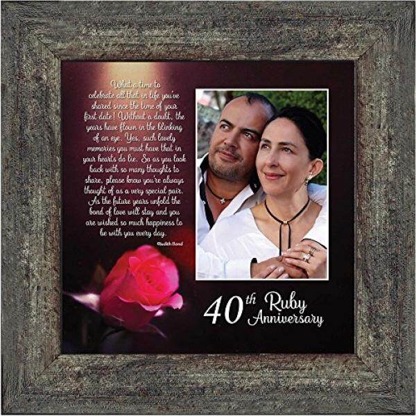 Ruby Anniversary, Personalized Ruby Wedding Anniversary Picture Frame, 40th Wedding Anniversary, 10x10 6307BW / From USA - intl