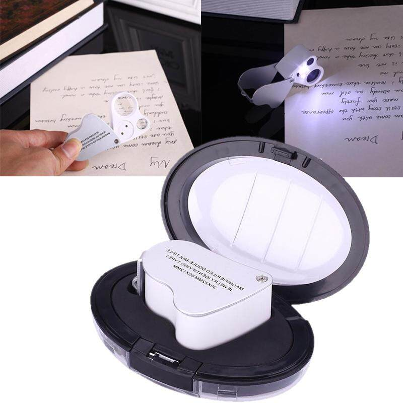 Dual Lens Eye Loupe Illuminated LED Metal Body Magnifying Glass Magnifier Tool