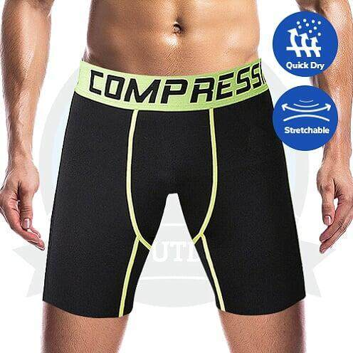 [LOCAL DELIVERY] Professional Compression Pants Short Men Fitness Short Pants PRO Sport Quick Dry Tights Gym Bodybuilding Trousers - LIGHT GREEN