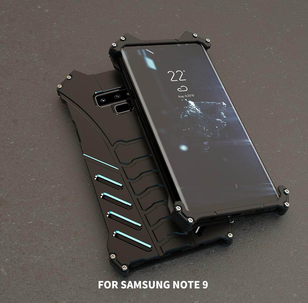 R-JUST untuk Samsung GALAXY Catatan 9 Casing Ponsel, shockproof Anti-Drop Aluminium Aerospace Metal Batman Melindungi Ponsel Kelas Militer DROP Diuji Iron Man Bumper Penutup Belakang untuk Samsung Galaxy catatan 9