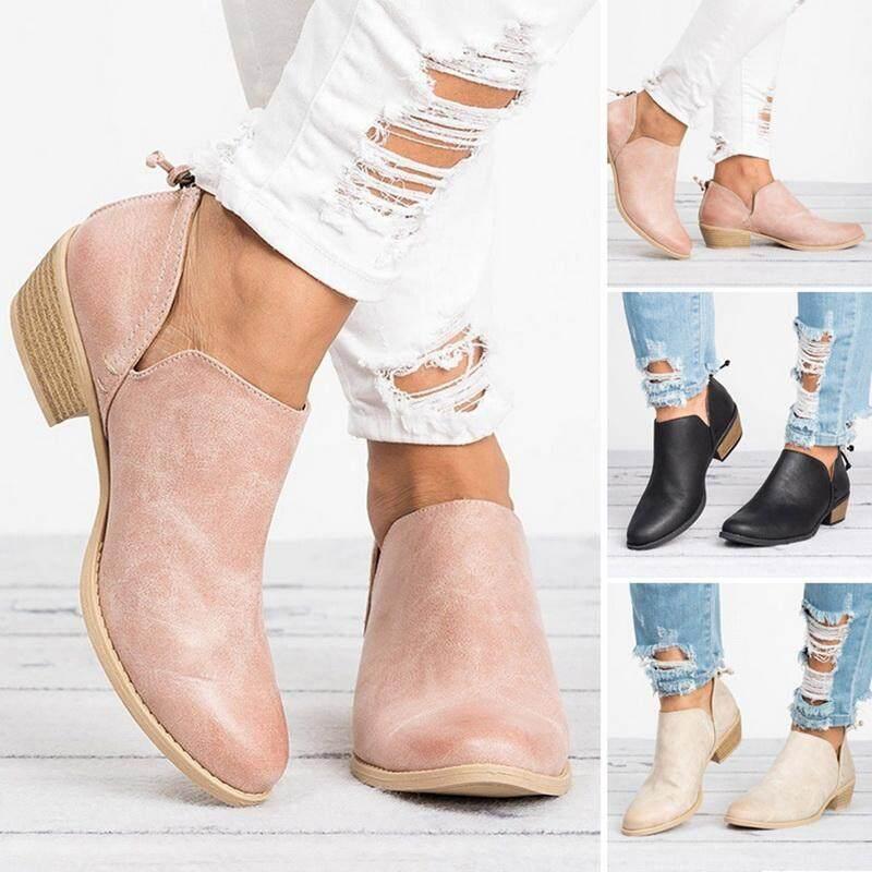 f19f95b11b Spring Autumn Women Flat Boots Female Square Heel Slip on Women High heels  Shoes Pointed Toe