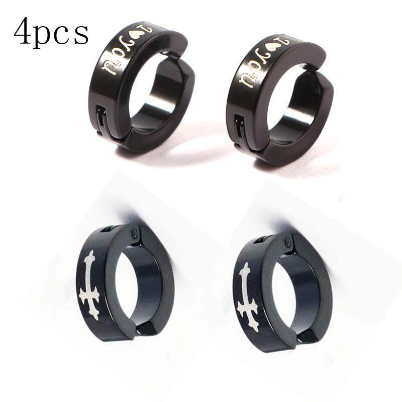 4pcs Fashion Love Ear Clip Vacuum Plating Non Pierced Earrings Anium False Men