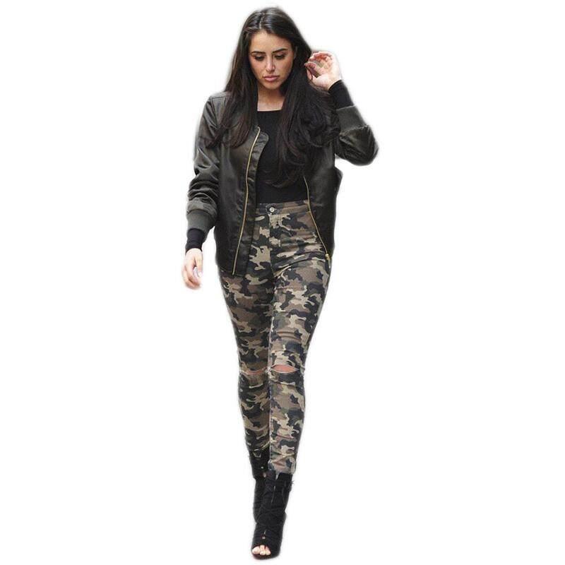 Wanita Turun Pinggang Elastis Ketat Lubang Denim Celana Pensil Wanita Kasual Kurus Dicuci Jeans (Hijau Tentara, 25/Kami ~ 2/UK ~ 6)-Intl