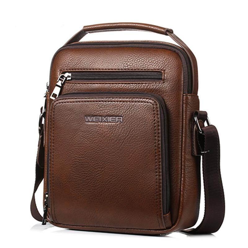 Pria Vintage Tas Pundak Kapasitas Besar Multi Fonction Kulit Kasual Tas Messenger Tas Tas Tangan Fashion-Coklat