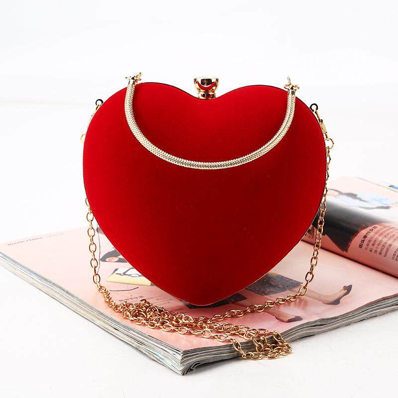 Red heart-shaped evening bag handmade suede clutch simple banquet bag with handle