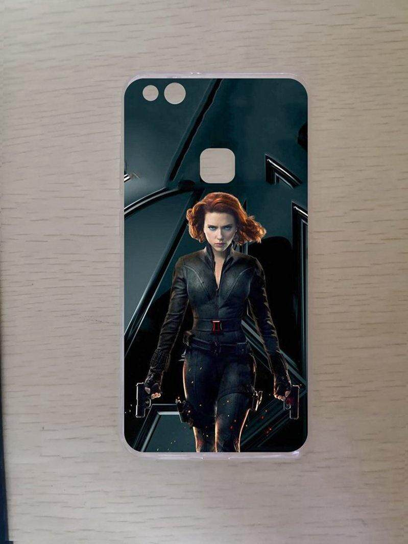 Avengers Pistol Hitam Janda Silicon TPU Lembut Case Cover untuk Huawei P10 Lite