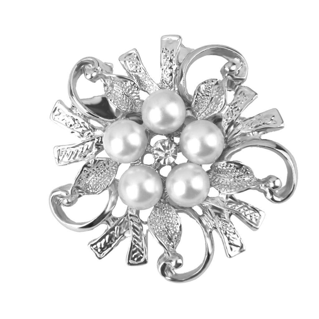 GuangquanStrade Wedding Bridal Party Banquet Faux Pearl Rhinestone Flower Brooch Pin Jewelry