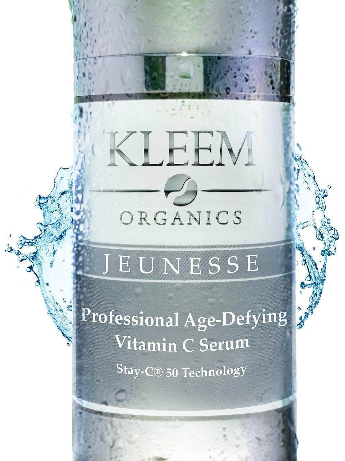 Kleem ORGANIC Vitamin C Serum for Face, Neck & Décolleté for Anti Aging, Age Spots, Acne & Neck Firming - BEST Anti Wrinkle Facial Treatment Serum with Natural Ingredients to Restore & Boost Collagen - 1 oz