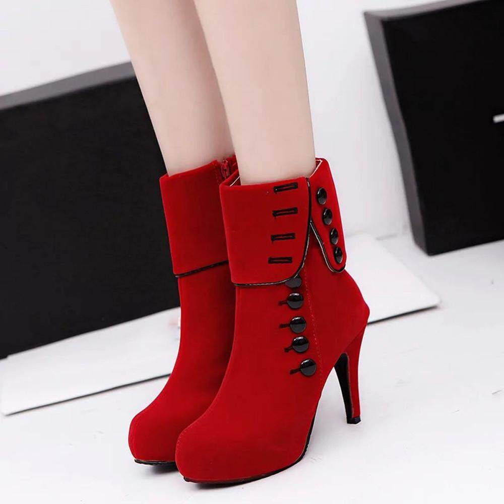6058278c6d84 Women Ankle Boots High Heels Fashion Red Shoes Platform Buckle Winter Boots  35 - intl