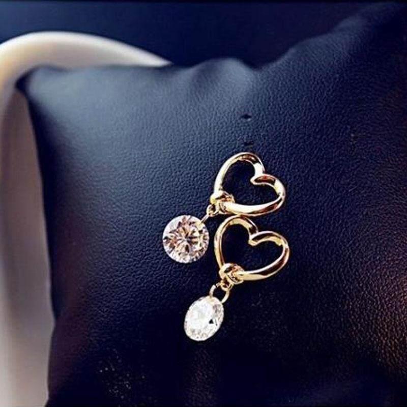 ... Elegan Anting-anting Jantung Berongga Liontin Zirkon Perhiasan Telinga untuk Wanita Anting Bulat - 4