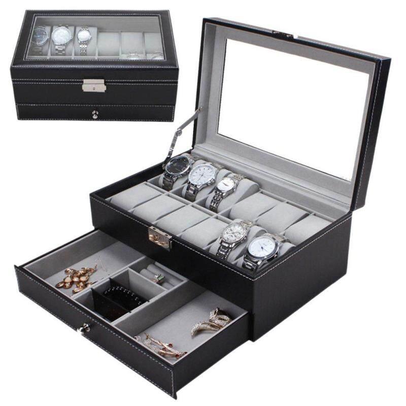 Yika 12 Grids Slots Watches Display Storage Box Case PU Leather Double Layers Malaysia