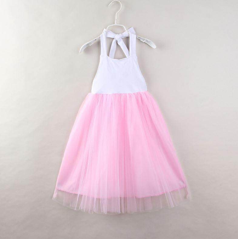 Kids Girls Bareback Pink Tutu Long Dress