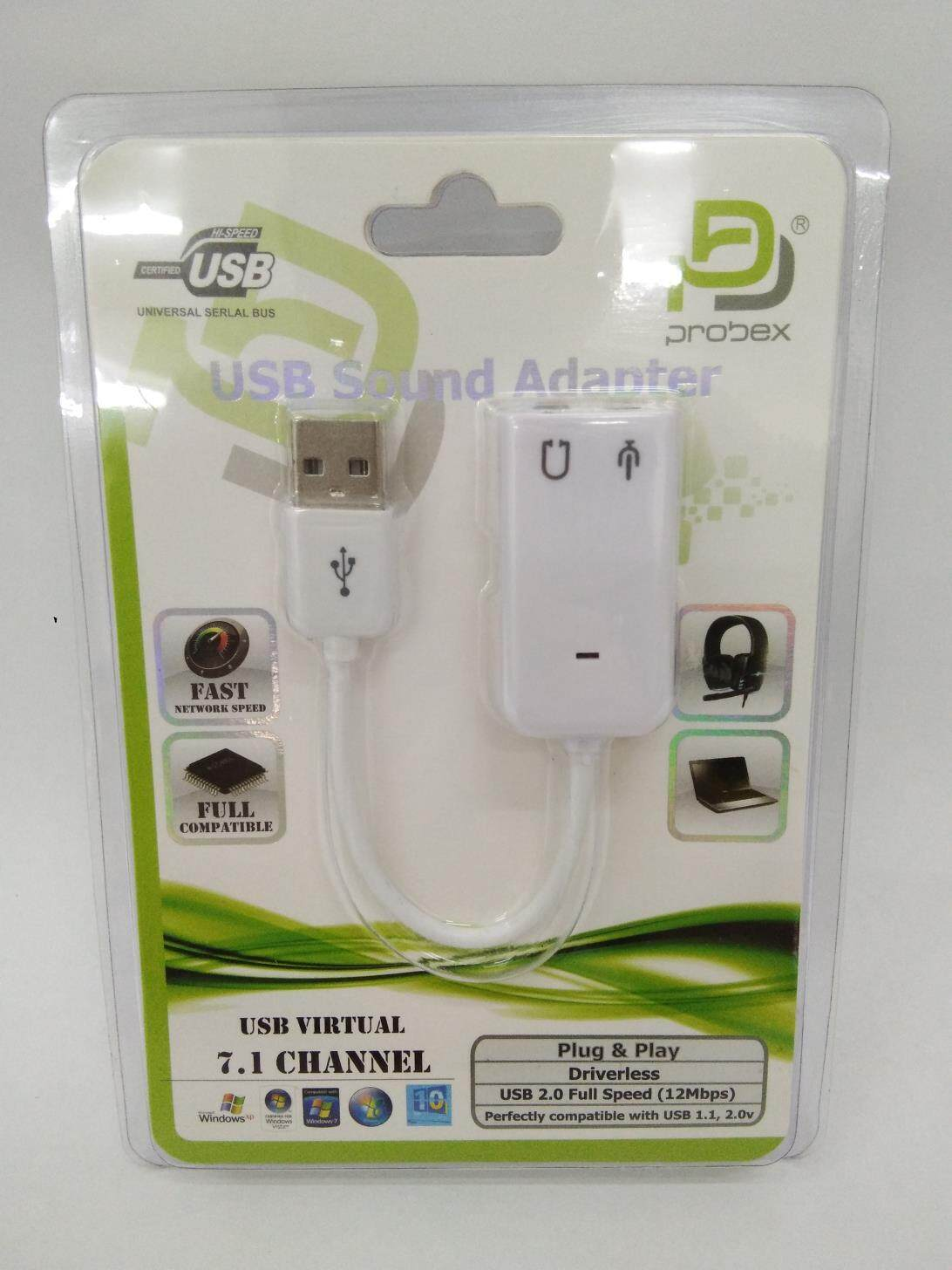 PROBEX USB Audio Adapter External Stereo Sound Card With 3.5mm Headphone And Microphone Jack Malaysia