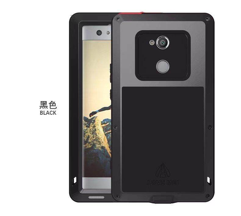 Shockproof Dustproof Water Resistant Aluminum Alloy Metal Tempered Glass Cover Case for Sony Xperia XA2 Ultra