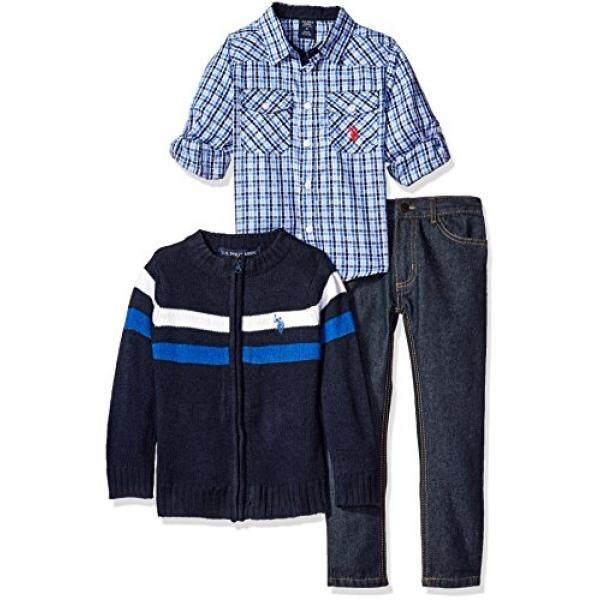 AS POLO Assn. sedikit Anak Laki-laki Balita Kotak-kotak Olahraga Kaus, Dada Garis Sweater Jaket dan Denim Jin, Kombo Biru, 3 T-Internasional