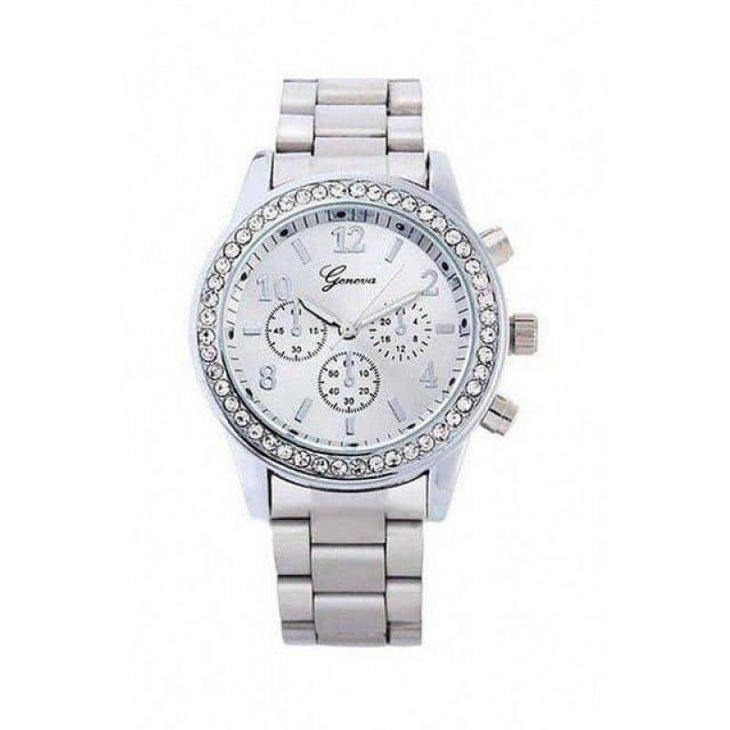 Geneva Steel Belt Elegant Quartz Watch Diamond Chronograph Women Watch - A008 Malaysia