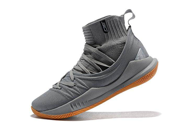 Under Armour Asli Stephen Curry Curry 5 Mid Pria Top Sepatu Basket SC (Putih Abu-abu)