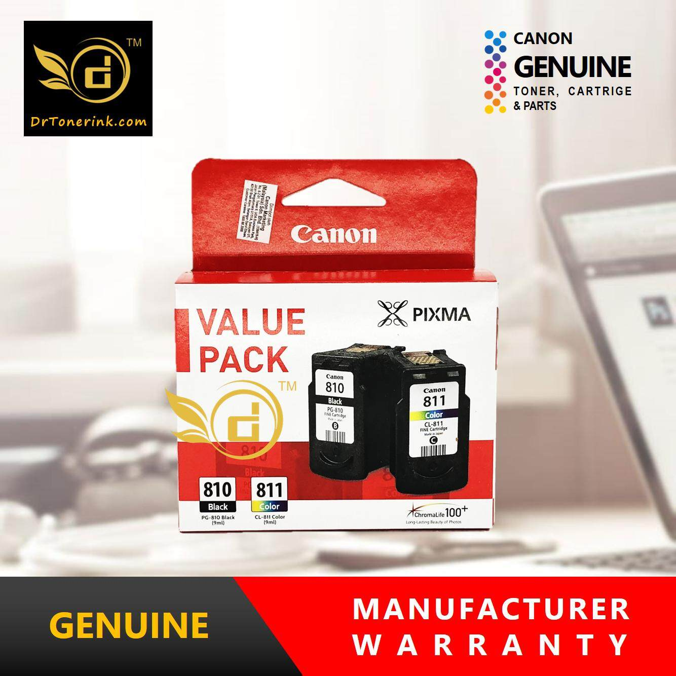 Genuine Original Ink Canon Value Pack PG 810 9ML CL 811