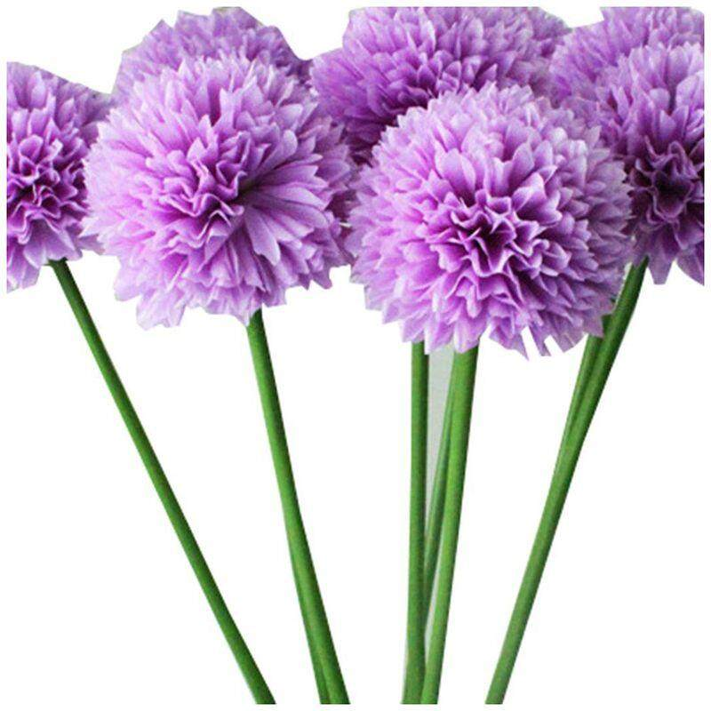 Artificial Flowers, 5 pcs Lavender Ball Artificial Flowers Bouquet Home Wedding Party Decor (Purple