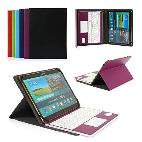 Keyboard Tablet Case Aksesoris S Coasta Awan PU Kulit Folio Sarung Keyboard Bluetooth Cover untuk Samsung Galaxy Note 10.1 N8010/N8000 (2012) dan Tab 9.7 T555C/T550 Tablet dengan QWERTY Layout Keyboard Yang Bisa Dilepas dan Touchpad Ungu-Intl