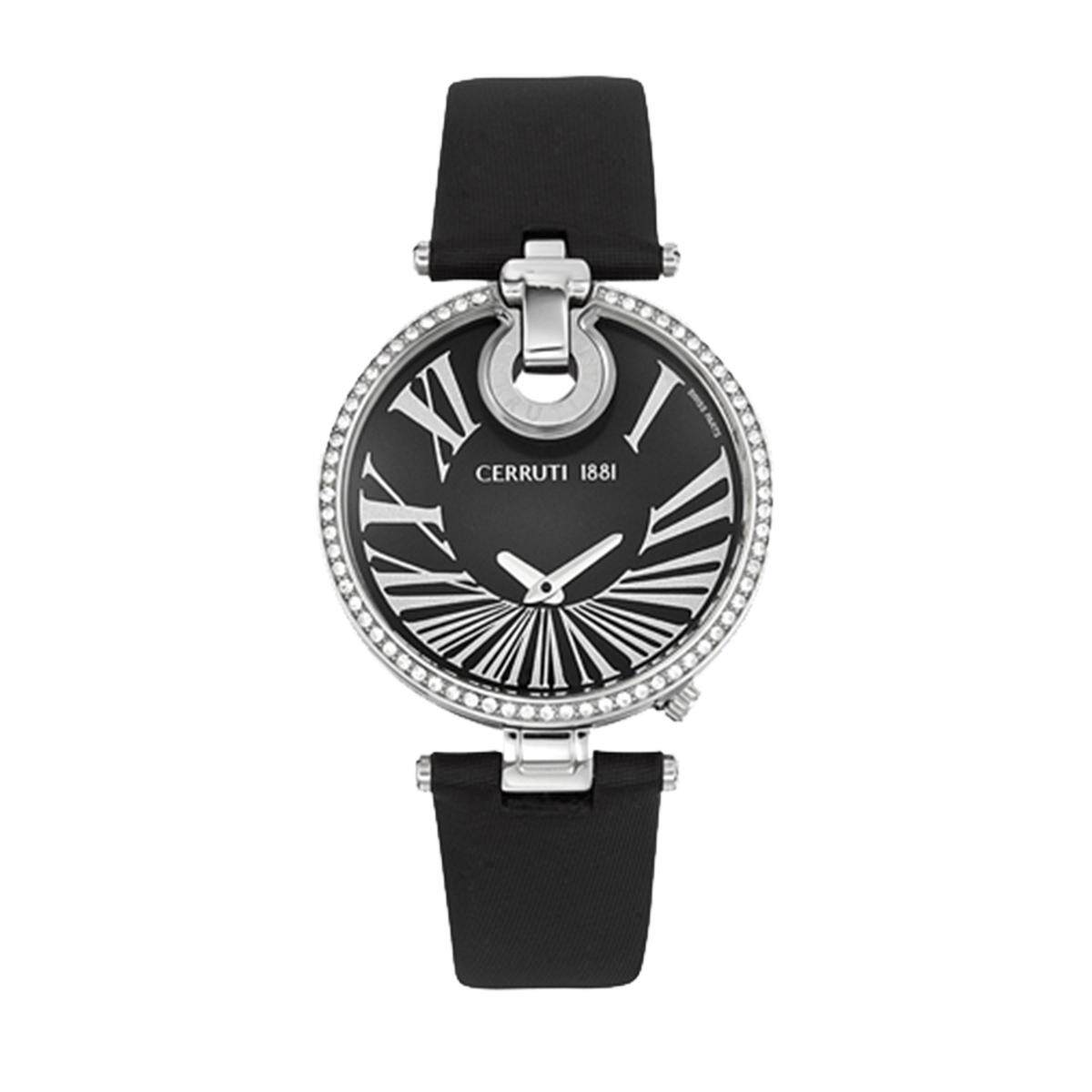 d61f5b88a9 Cerruti Ferrara Black Stainless-Steel Case Leather Strap Ladies CRM027A222A