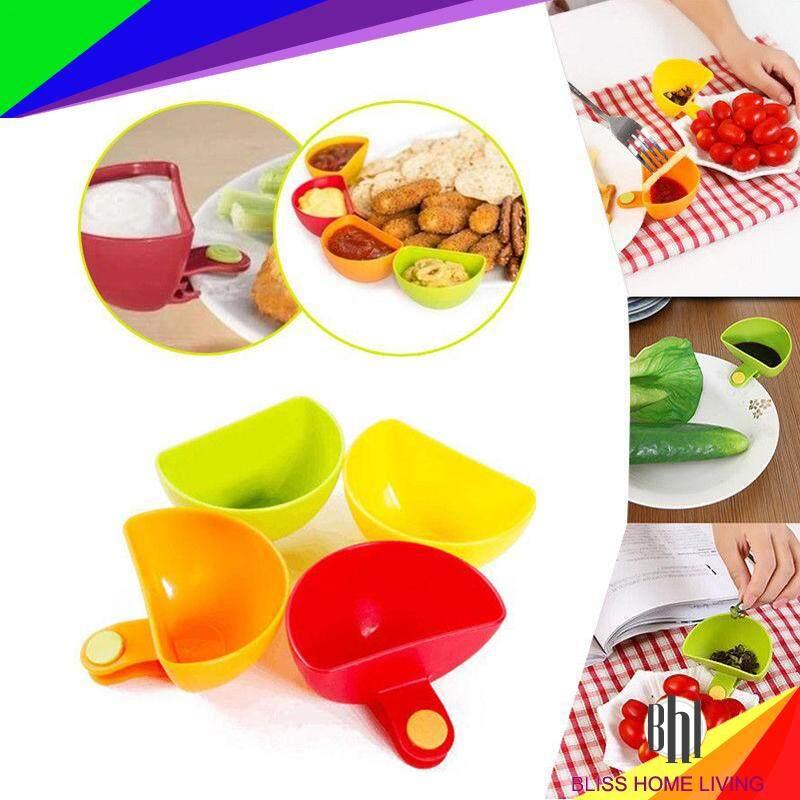 (1 Set 4 pcs)Jam Dip Clip Cup Salad Sauce Ketchup Saucer Sugar Salt Vinegar Bowl