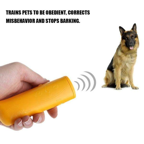 3 in 1 Anti Barking Stop Bark Device Portable Handheld Ultrasonic Pet Dog Repeller Control Training Device Trainer With LED Yellow - intl