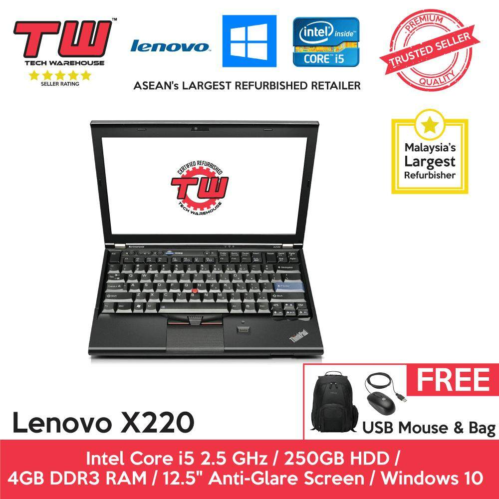 Lenovo X220 Core i5 2.5 GHz / 4GB RAM / 250GB HDD / Windows 10 Home Laptop / 3 Months Warranty (Factory Refurbished) Malaysia