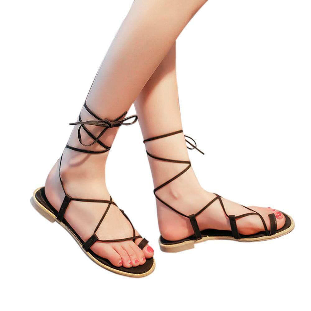 8bb695087a79 Women Cross Strap Roman Gladiator Sandals Strappy Thong Flat Flip Flops  Shoes Stinsonshop - intl