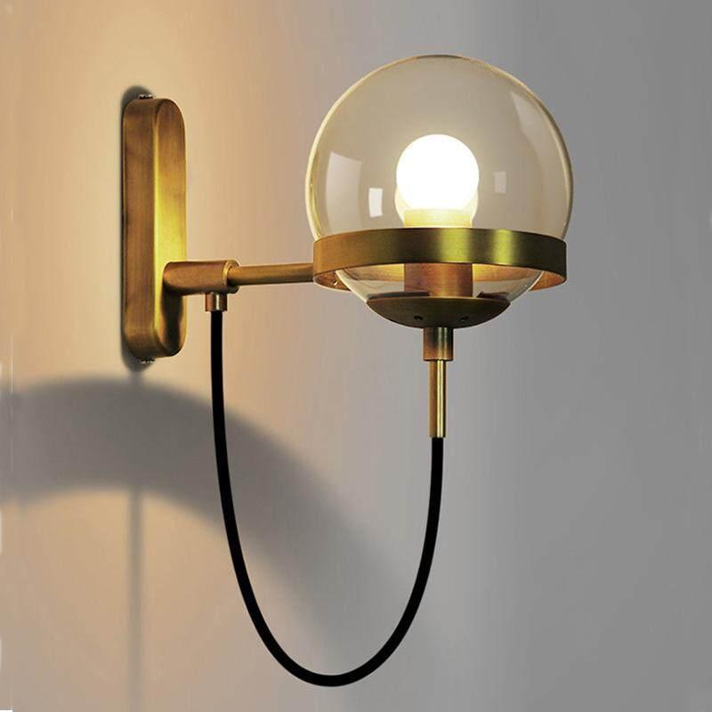 QUKAU Nordic Wall Lamp Retro industrial iron art sconces diameter 15CM glass ball bedroom bedside modern simple hotel aisle lamp