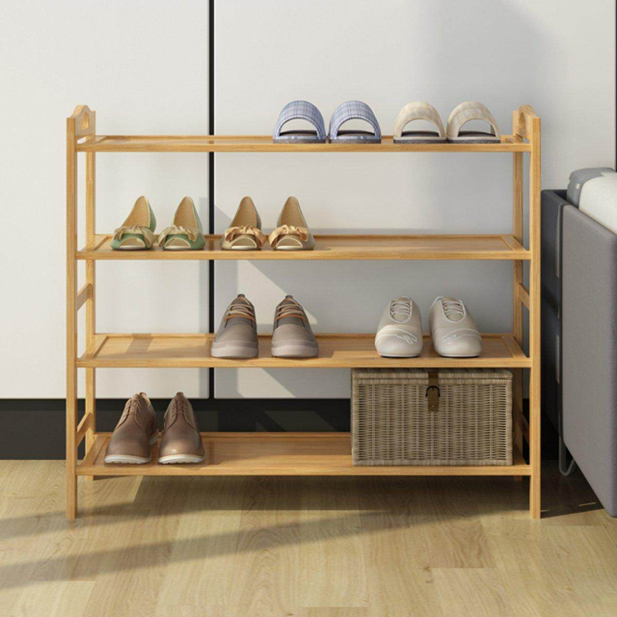 3 Tier MDF Shoe Rack Organiser Natural Bamboo Shoes Storage Unit Shelf Stand # 4 Layer