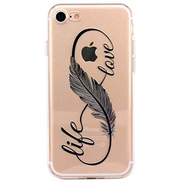 Smartphone Cases Cases iPhone 7 Case,JAHOLAN Amusing Whimsical Designs Clear TPU Soft Case Rubber Silicone Skin Cover for Normal 4.7 inches iPhone 7 - Feather Life and Love - intl