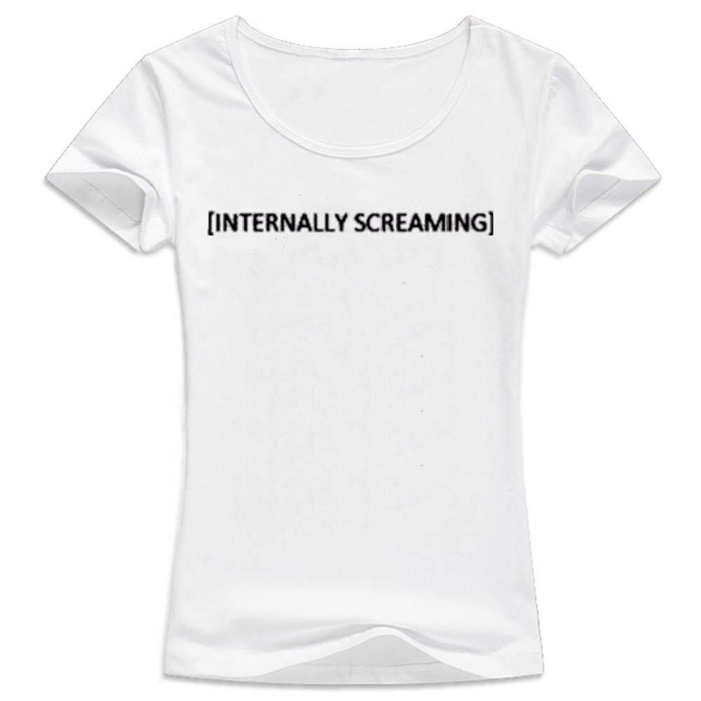 Wanita Kasual Kaus Lengan Pendek Kaus Kaus Kemeja Internal Menjerit Huruf Gaya Hitam Femme