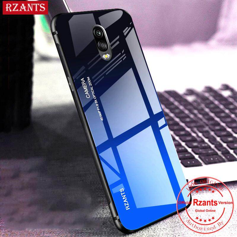 Rzants untuk Samsung Galaxy J7 Plus Case【Gradient】Smooth Tempered Glass Ultra-thin Shockproof Hard Back Phone Casing