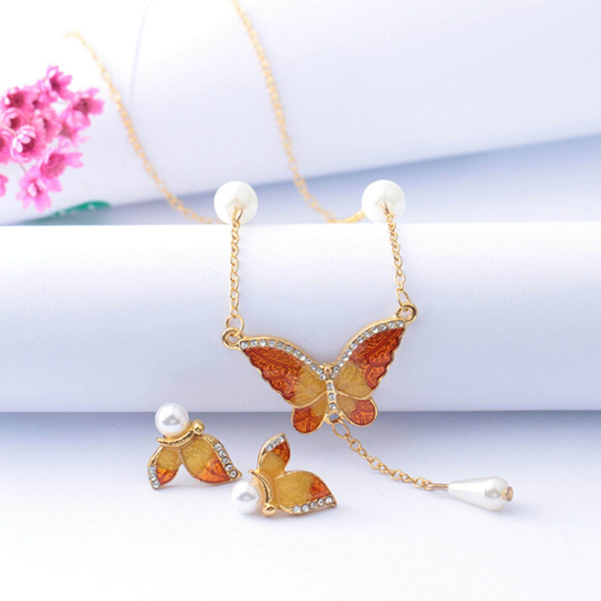 6ef19e92d23756 Wedding Butterfly Imitation Pearls Necklace Earrings Jewelry Set Hot Gift