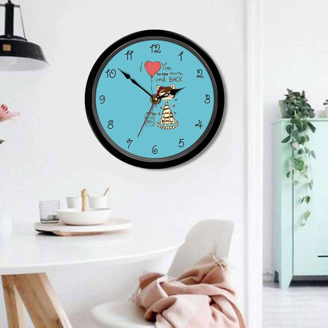 8 inch Home Office Room Decorative Heart Cartoon Cat Letters Print Mute Non Ticking Round Wall