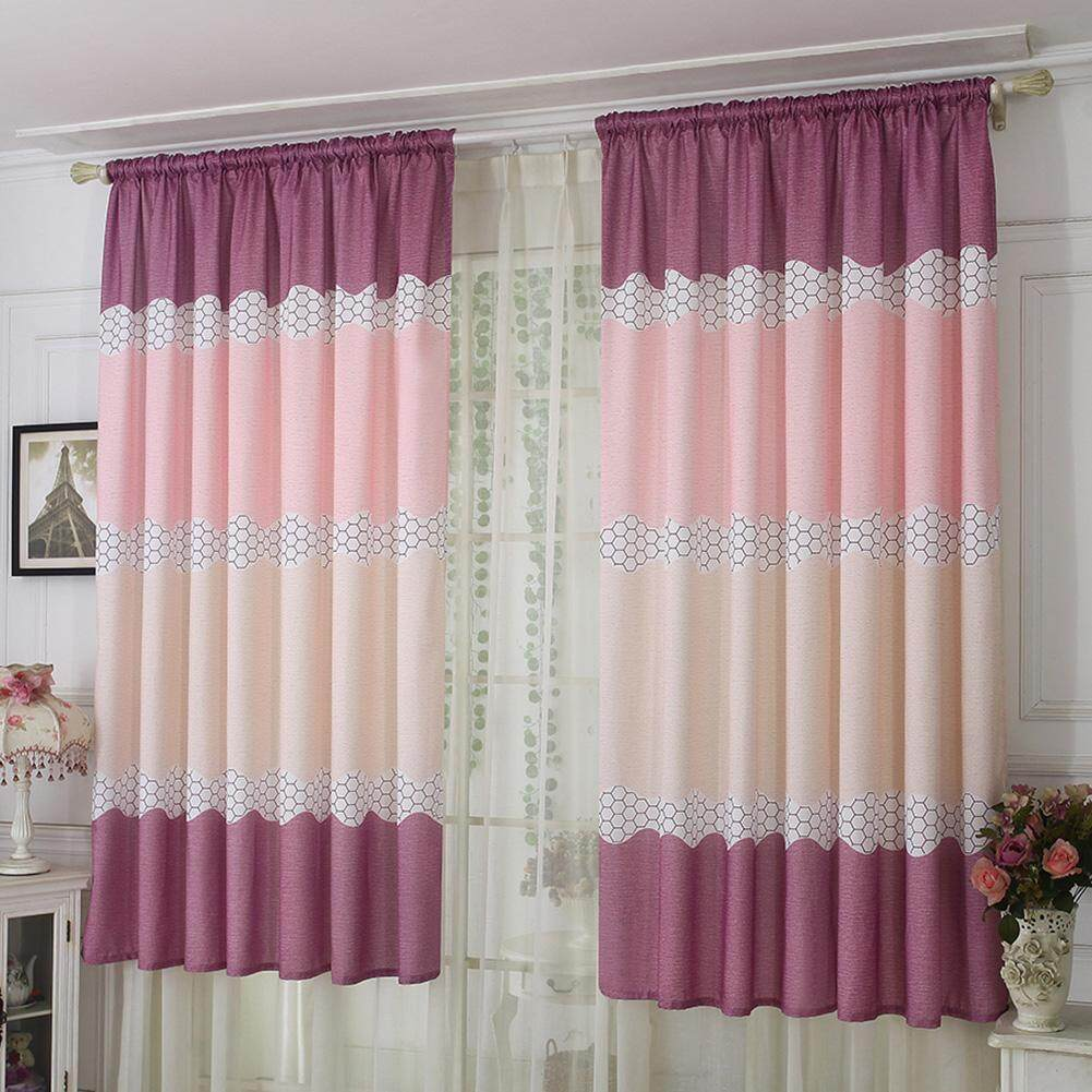 Wide Strip Half Shading Curtain Bedroom Living Room Semi Blackout Purdah - intl