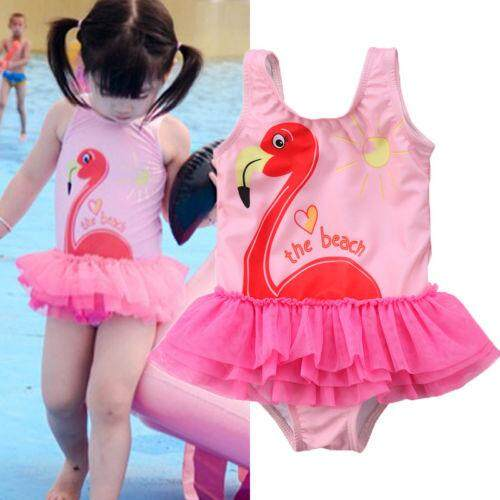 b147db2f147f8 Kids Girls Swan One-Piece Lace Tutu Shirt Swimwear Swimsuit Clothes Bathing  Suit