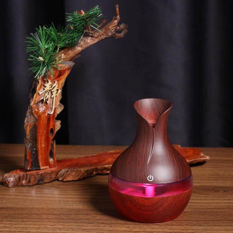 〔questionno〕Ultrasonic Mini Wooden Aromatherapy Humidifier 7Color LED Light Diffuser Singapore