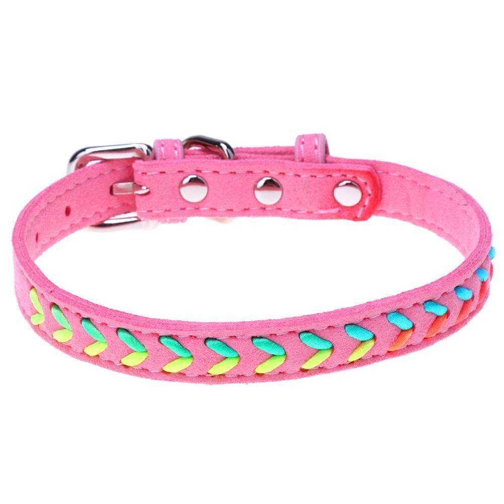 Adjustable Colorful Ribbon Pu Leather Puppy Teddy Dog Collars Pet Necklaces Leash By Companionship.