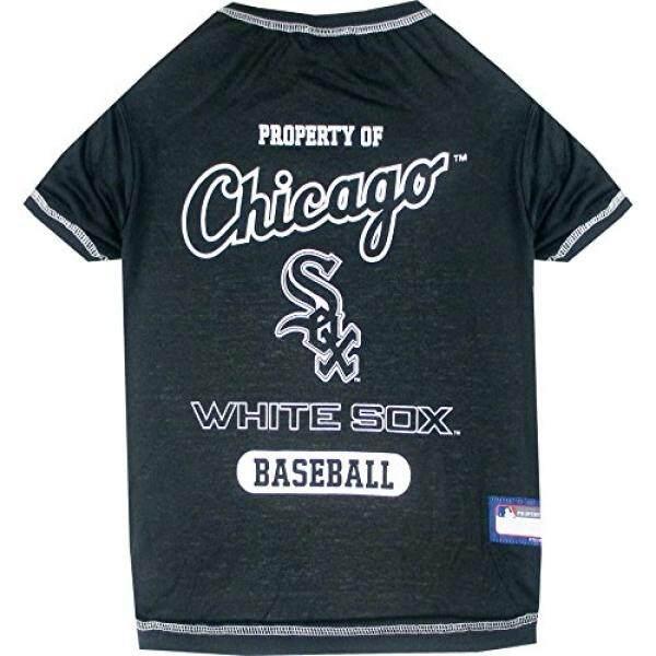 MLB Chicago Putih Sox Anjing Kaus, Medium. -Kemeja Berlisensi untuk Hewan Peliharaan Tim Berwarna dengan Logo Tim-Internasional