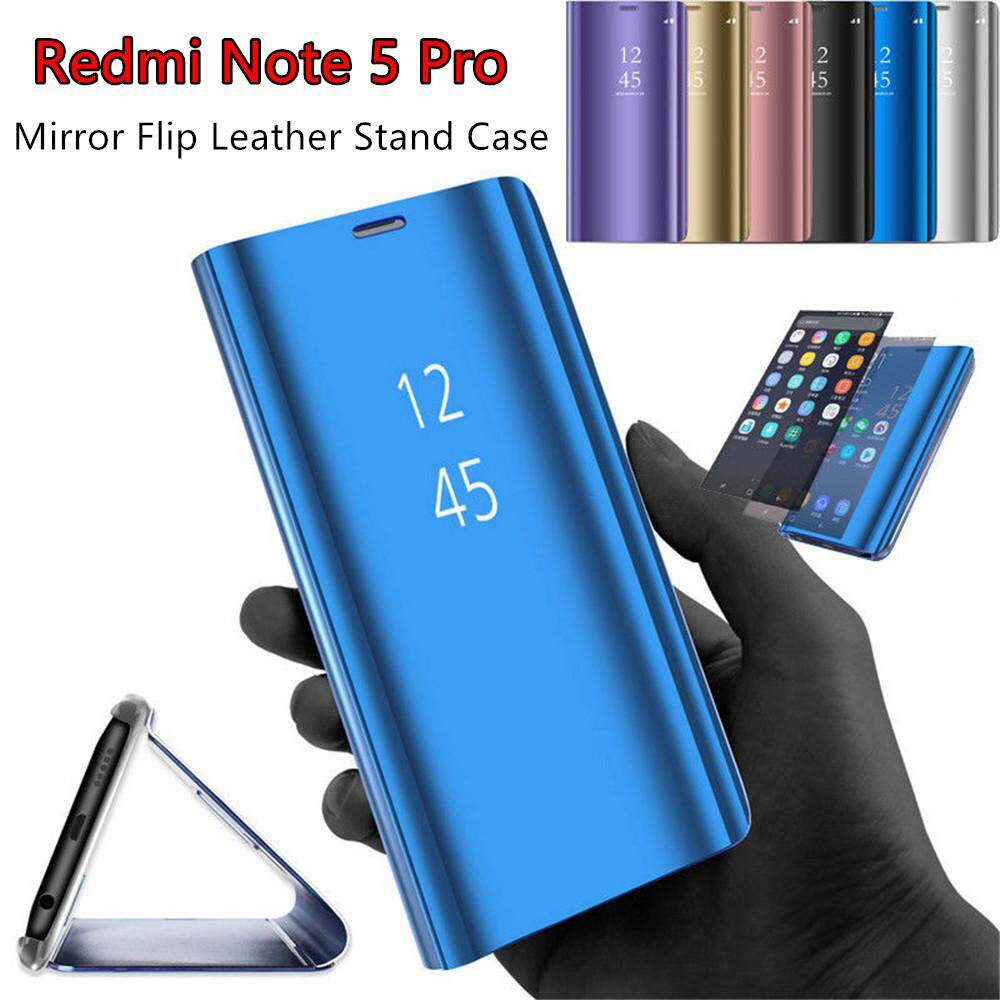 Features Plating Mirror Surface Pc Leather Case For Xiaomi Redmi Note 5 Pro Ipaky Carbon Fiber Matte Luxury Flip Stand Smart View