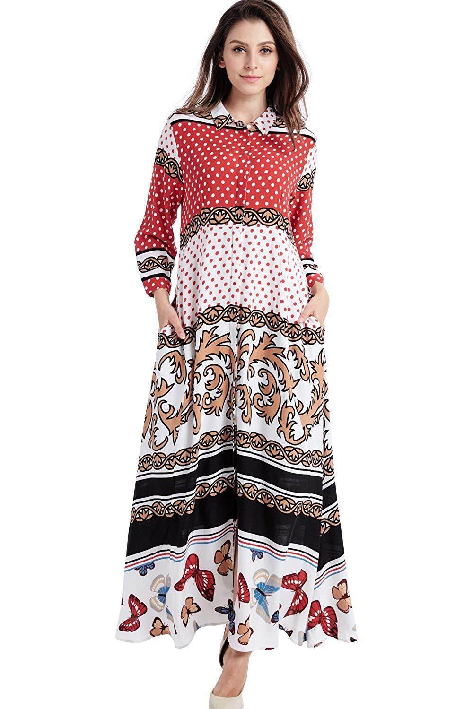 9c47ea38386 Women Floral Print Maxi Long Dress Long Sleeve Casual Shirt Dresses Arabian Muslim  Long Kaftan Abaya