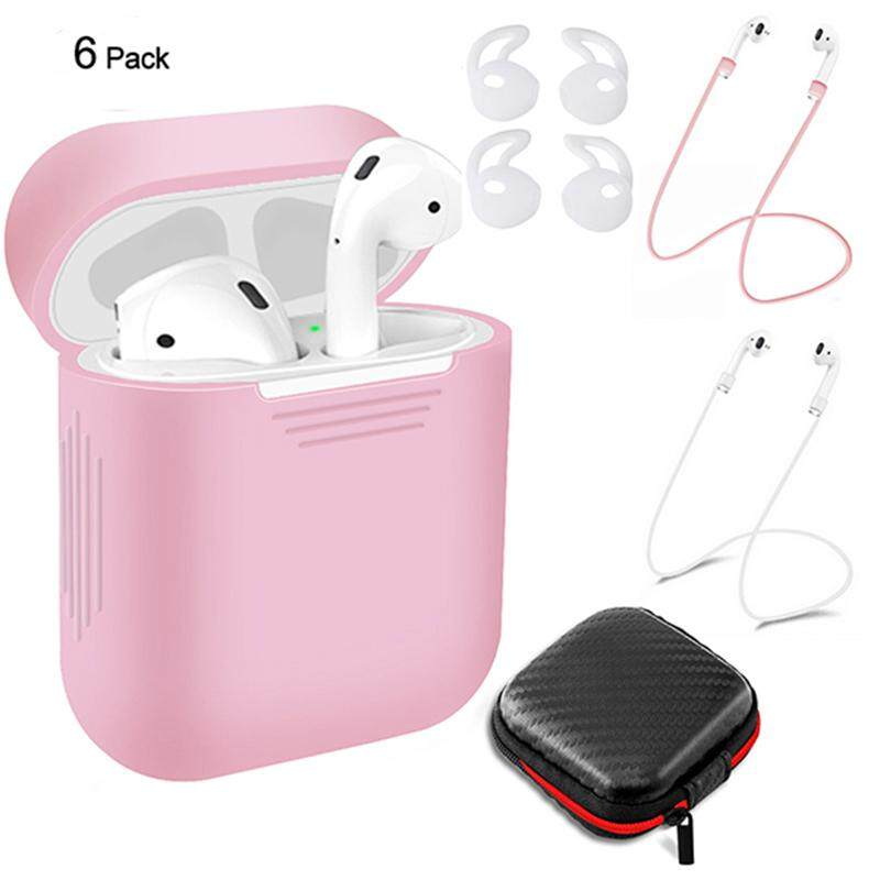 LumiParty 6 Pcs/Set Silicone Protective Cover & Receiving box & Anti Lost Strap & Ear Cover Hooks for Apple AirPods Case
