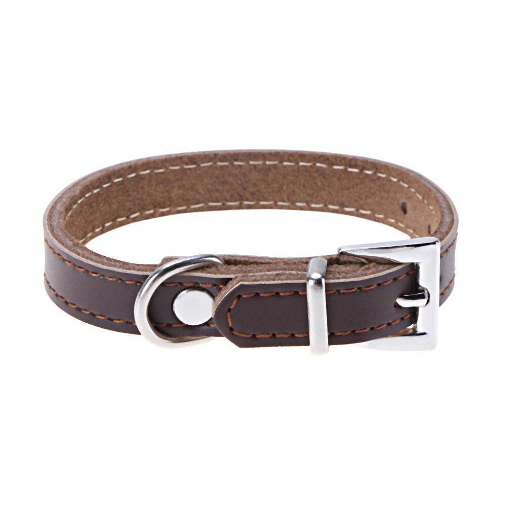 Dog Collar PU Leather Solid Coffee Color Puppy Cat Pet Neck Belt Tie Supply(Brown